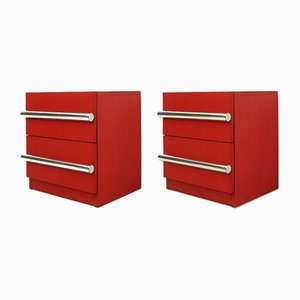 German Red Chests of Drawers, 1976, Set of 2