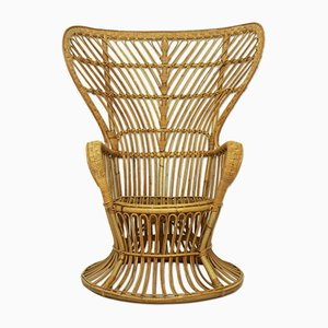 Italian Rattan Wicker Lounge Chair, 1950s