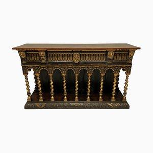 Vintage William Burges Style English Romanesque Wood Sideboard