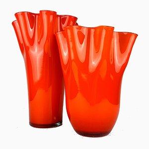 Italienische orange Fazzoletto Vasen aus Muranoglas, 1990er, 2er Set