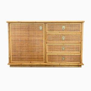 Credenza in bambù e vimini di Dal Vera, anni '70