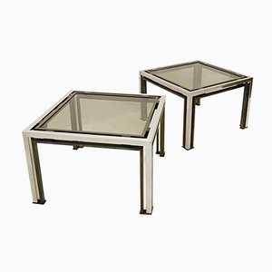 Coffee Tables with Smoked Glass Tops by Romeo Rega, 1970s, Set of 2