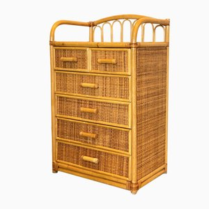 Cabinet with Drawers in Wicker and Bamboo, 1980s