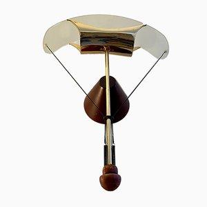 Glas, Messing und Holz Lampe, 1970er