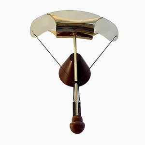 Glass, Brass and Wood Lamp, 1970s