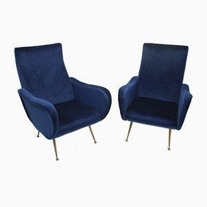 Vintage Marco Zanuso Style Blue Velvet Armchairs, Set of 2