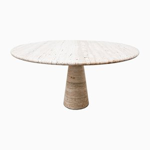 Vintage Travertine Dining Table by Angelo Mangiarotti