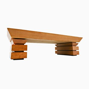 Postmodernist Oak Coffee Table, 1980s