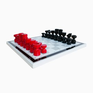 Bauhaus Enamel Chessboard with Wooden Figures from Tecta