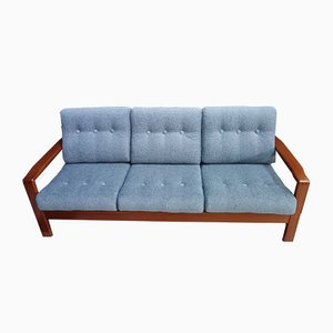 Danish Teak & Blue Fabric Sofa, 1960s