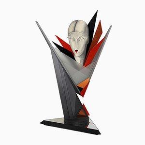 Lámpara escultural inspirada en Art Déco, años 80