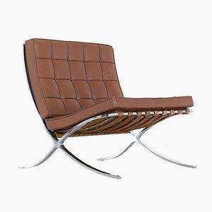 Sedia Barcelona in pelle di Ludwig Mies Van Der Rohe per Knoll Inc. / Knoll International, 1962