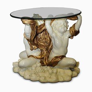 Vintage Italian Sculptural Gilded Cherub Table with Glazed Top