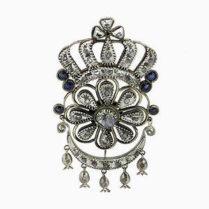 Handgemachte Gold, Silber, Diamant & Saphir Brosche, 1850