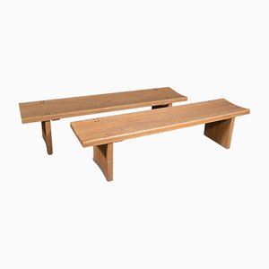 English Oak Museum Benches, 1980s, Set of 2