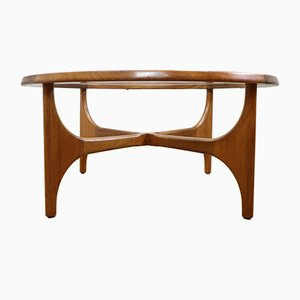 Mid-Century Round Teak and Glass Coffee Table from Stonehill