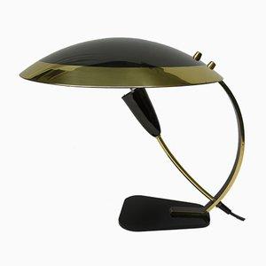 Lámpara de mesa de latón en negro, años 50, Italy