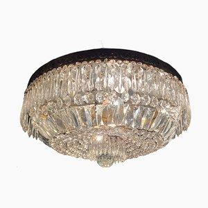 Large Vintage Crystal Flushmount Ceiling Lamp