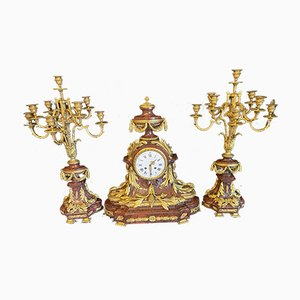 Red Griotte Marble & Ormolu 3-Piece Clock Garniture by Raingo Frères, Set of 3
