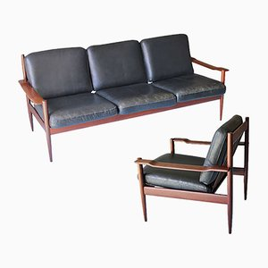 Danish Teak & Leather Sofa & Lounge Chair, 1960s, Set of 2