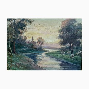 Oil on Panel, 1930s, Shepherdess and Her Sheep Near a River