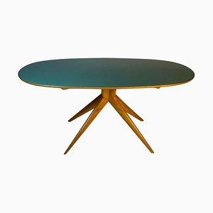 Mesa de comedor italiana Mid-Century ovalada con tablero de vidrio verde