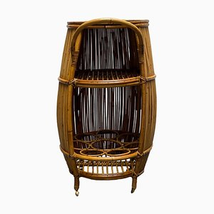 Round Bamboo and Rattan Bar Cart with Brass Shelf and Wheels, Italy, 1960s