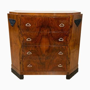 Small Art Deco Commode or Chest, Walnut Veneer and Brass, France, 1930s