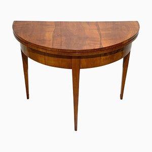 Biedermeier Ausziehbarer Demi-Lune Tisch mit Kirschholz Furnier, 1820er
