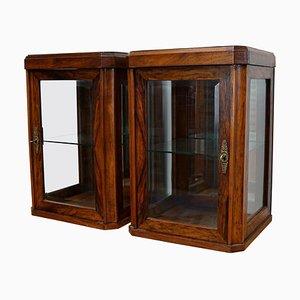 Oak Walnut Veneered Shop Display Cabinets, 1920s, Set of 2