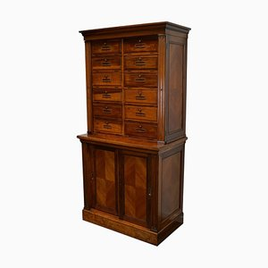 French Walnut Apothecary Filing Cabinet, 1920s