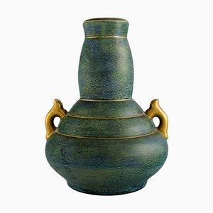 Vase mit Griffen aus glasierter Keramik von Josef Ekberg für Gustavsberg