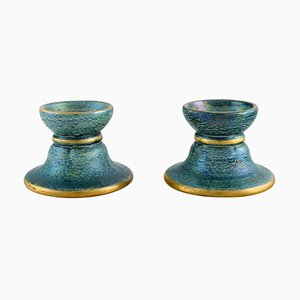Art Deco Candlesticks in Glazed Ceramics by Josef Ekberg for Gustavsberg, Set of 2