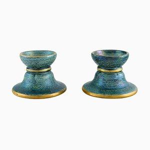 Art Deco Kerzenhalter aus glasierter Keramik von Josef Ekberg für Gustavsberg, 2er Set