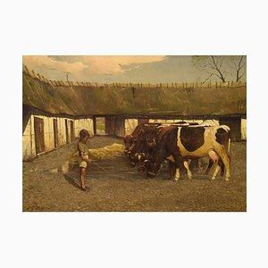 Søren Edsberg, 1945, Denmark, Oil on Canvas, Farm Landscape with Boy and Cows