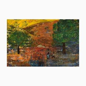 Göta Fogler, Sweden, Oil on Canvas, Abstract Landscape, 1960s