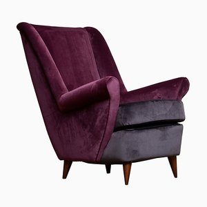 Easy Chair in Magenta by Gio Ponti for Isa Bergamo, Italy, 1950s