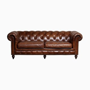 Tufted Brown Leather English Chesterfield Sofa, 20th Century