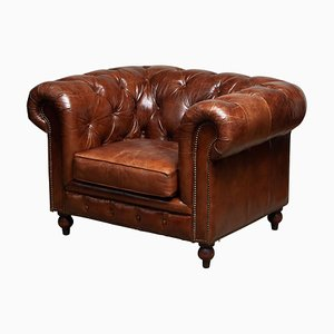 Tufted Brown Leather English Chesterfield Easy Chair, 20th Century