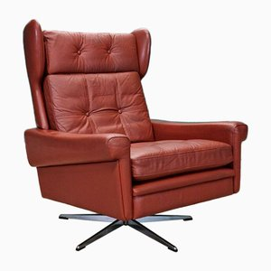 Mid-Century Danish Red Leather Swivel Lounge Armchair from Skippers Mobler, 1960s