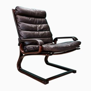 Mid-Century Danish Brown Leather & Beech Lounge Chair by Georg Thams, 1970s