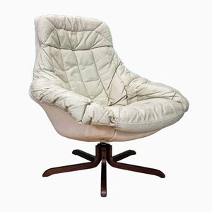 Mid-Century Danish Cream Leather Swivel Lounge Chair by H.W. Klein for Bramin