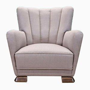 Vintage Danish Art Deco Pale Violet Cotton Club Lounge Chair, 1940s