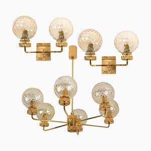 Vergoldete Glaslampen im Stil von Brotto, Italien, 3er Set