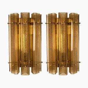 Extra große Murano Wandlampen oder Wandlampen aus Glas und Messing, 2er Set