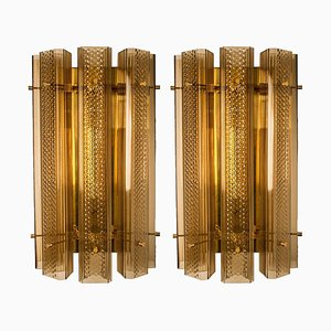 Extra Large Murano Wall Sconces or Wall Lights in Glass and Brass, Set of 2