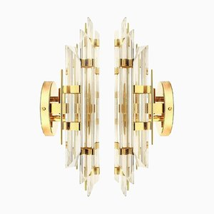 Murano Glass and Gold-Plated Sconces in the Style of Venini, Italy, Set of 2