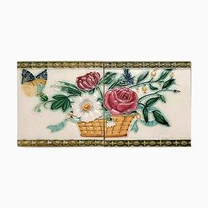 Art Nouveau Relief Tiles, Morialmé, 1900s, Set of 2
