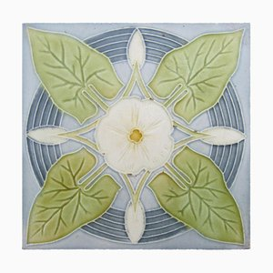 Jugendstil Tile with Grey-Blue Bindweed, 1940s