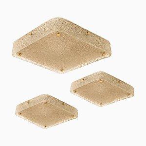 Große quadratische Einbau- Deckenleuchte aus Texturglas von JT Kalmar